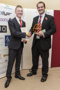 Jake Ford, the R-Awards trophy designer, with Jake Berry MP in 2013